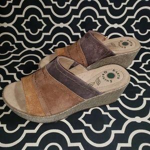 EARTH ORIGINS Suede Wedge Sandals Tri-Tone Sz 7.5